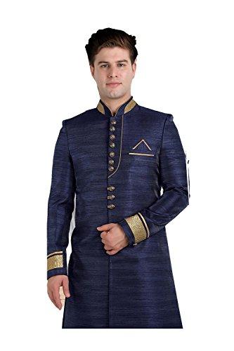 (Sangrahan Eye-catching Raw Silk Fabric Blue Color Sherwani 84117)