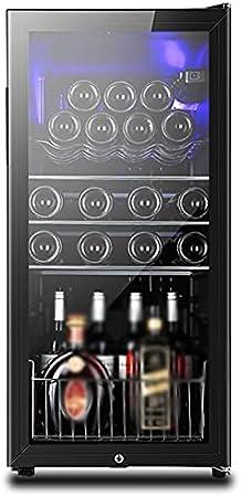 VIY Nevera vinos vinoteca para vinos Nevera para Bebidas, Refrigerador gastronomía 24 Botellas 5 Baldas de Acero Inoxidable Iluminación LED Módulo Independiente Negro