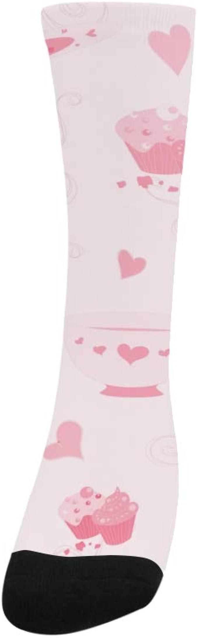 Cute Cups Drinks Painted Cartoon Crazy Soccer Dress Trouser Sock Women Botts