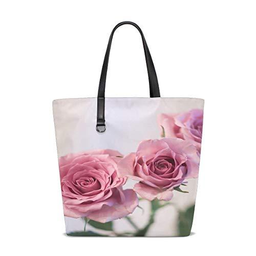 Women Flower Rose Petal Bouquet Plant Love Give Handle Satchel Handbags Shoulder Bag Tote Purse Messenger Bags