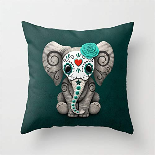 Elephant Sugar - Teal Blue Day of The Dead Sugar Skull Baby Elephant Throw Pillow Case Cushion Cover 18 X 18 inches