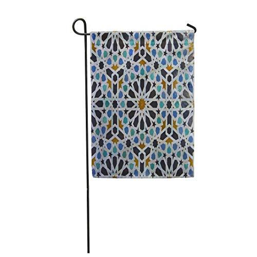 Semtomn Garden Flag Blue Zellige Moroccan Pattern in Riad FES Morocco Green 28