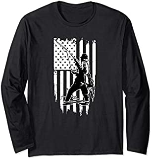 [Featured] American Flag Bass Fishing Vintage Fishing Clothes Long Sleeve in ALL styles | Size S - 5XL