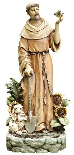 St. Francis with Bird Statue and Birdfeeder, 12-1/2-inch Tall