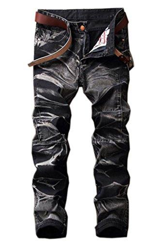 Men's Fashion Tie-dyed Slim Fit Jeans Black - Designer Hop Hip
