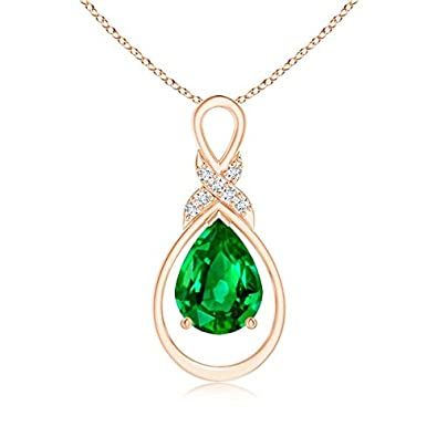 Angara Infinity Knot Natural Emerald Solitaire Necklace for Her in Rose Gold eUy52iGq