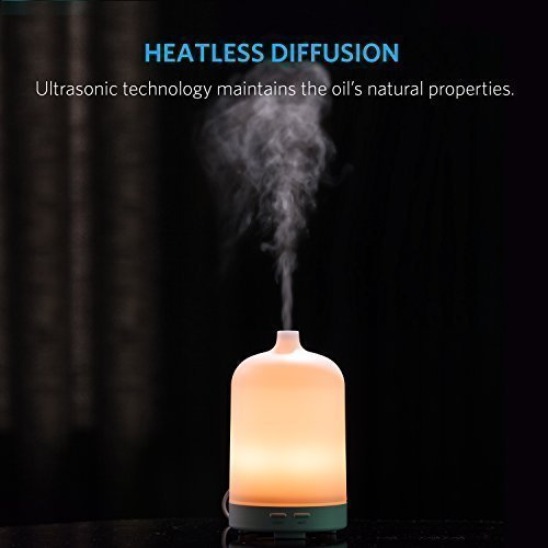 Anker 100ml Essential Oil Diffuser for Aromatherapy, Ultrasonic Cool Mist Humidifier / Aroma Diffuser with Multi-Color Light and Auto Shut-Off for Bedroom, Nursery or Desk