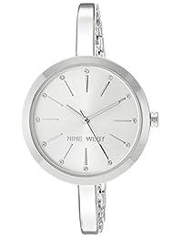 Nine West - Reloj de pulsera con cristales para mujer, Plateado