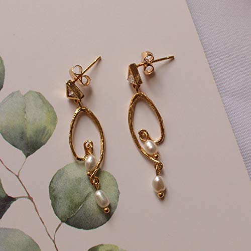 18K Gold Plated Pearl Earrings Zircon Studs Handmade Jewellery Gift for Her