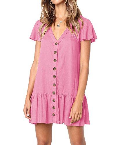 Huiyuzhi Womens Ruffles Short Sleeve V Neck Button Down Shirt Dresses Summer Short Dress (L, Rose red)