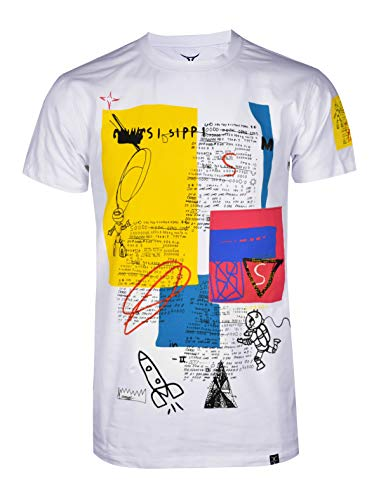 SCREENSHOTBRAND-S11922 Mens Hip-Hop Ultra Premium Tee Urban Streetwear Orbit Graffiti Print T-Shirt-White-3XLarge