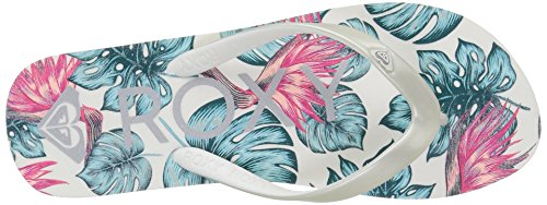 Large Product Image of Roxy Girls' RG Tahiti V 3 Point Sandal Flip-Flop, Silver/Lagoon, 4 M US Big Kid