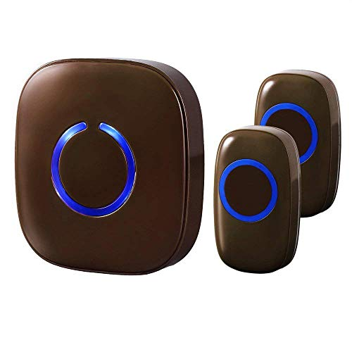 (SadoTech Model CX Wireless Doorbell with 1 Receiver Plugin and 2 Remote Buttons Operating at over 500-feet Range with Over 50 Chimes, No Batteries Required for Receiver, (Brown))