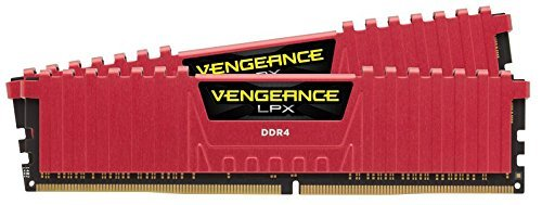 (Corsair Vengeance LPX 16GB (2 x 8GB) DDR4 DRAM 3000MHz C15 Desktop Memory Kit - Red (CMK16GX4M2B3000C15R) )