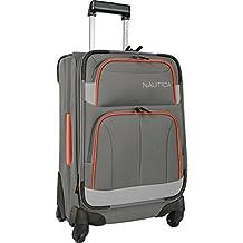 "Nautica Shipline 20"" Expandable Spinner Carry On Luggage, Charcoal Grey/Orange"