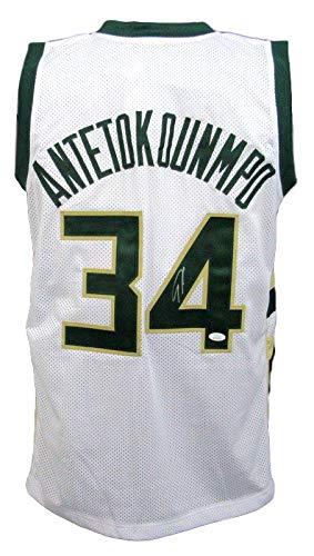 Giannis Antetokounmpo Signed Bucks White Pro-Style Basketball Jersey JSA 144200