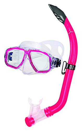 Innovative Scuba Concepts MSF3514A Junior Kids Snorkel Set, Mask, Comfortable, Anti-Leak, Anti-Fog, Adjustable, for Travel, Vacation, Fun, Translucent Pink