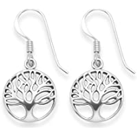 Sterling Silver Tree of Life drop earrings - Size: 13mm 6097 Antiqued finish (oxidized). Gift Boxed - 6097 B41HN