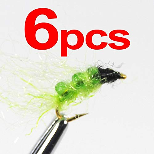 Caddis Pupa Bead (Jammas Glass Bead Caddis Larva Pupa Nymph Flies Trout Fishing Lures Size 14 Green & Orange Color - (Color: 6pcs Green))