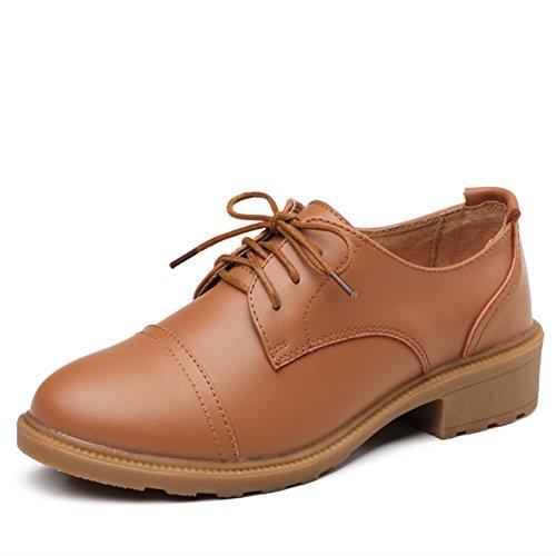 angleterre Et Shoes A Chunky Talons Europe Talon Printemps Femmes middle forme Vent Casual Chaussures Cuir plate En CnBx1q