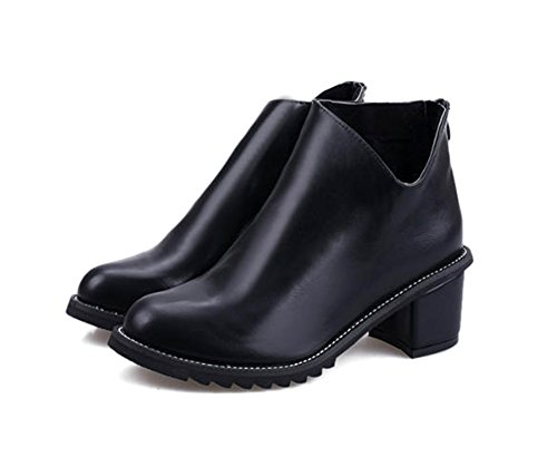 CHFSO Womens Trendy Chunky Heel Back Zipper Ankle Boots Black kKPbVPJ39