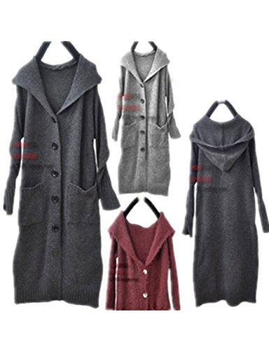 [Yesno A25 Women Long Hooded Knitted Sweater Coat Button-Down Casual Loose Fit Big Pocket] (Maternity Sweater Coat)