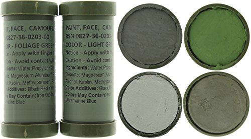 Army Universe Camo Face Paint, NATO Military Camouflage Outdoor Makeup Jungle Paint Sticks (2 Sticks - 4 Colors: Foliage Green, Grey, Light Green & Loam)