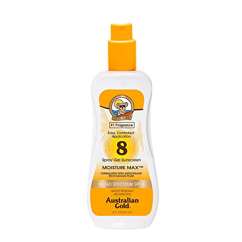 Australian Gold Spray Gel Sunscreen, Moisture Max, Infused with Aloe Vera, Broad Spectrum, Water Resistant, SPF 8, 8 Ounce