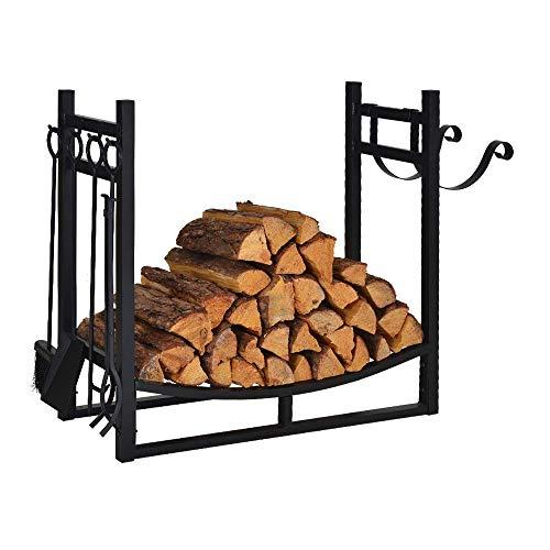 Firewood Rack Indoor Outdoor w/ 4 Tools, 3ft Log Rack Fire Wood Holders Storage Carrier by Patio Guarder, Heavy Duty Steel Log Holder with Kindling Holder for Backyard Garden Firepit Fireplace, Black (Rack Large Indoor Firewood)