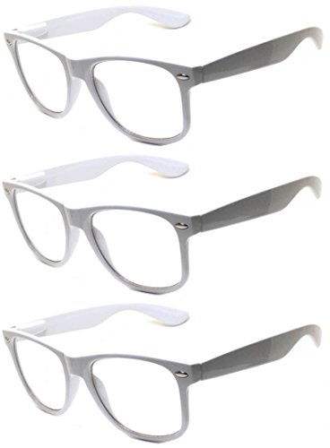 OWL - Non Prescription Glasses - Clear Lens White Frame - UV Protection (3 - Online Prescription Sunglasses Cheap