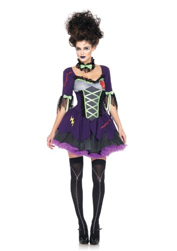 [Leg Avenue Women's 3 Piece Frankie's Bride Costume, Purple, Small/Medium] (Sexy Monster Halloween Costumes)