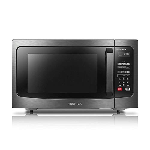 (Toshiba EM245A5C-BS Microwave Oven with Inverter Technology, LCD Display and Smart Sensor, 1.6 Cu.ft/1250W, Black Stainless Steel)