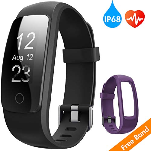 runme Fitness Tracker with Heart Rate Monitor, Activity Tracker Smart Watch with Sleep Monitor, IP67 Water Resistant Walking Pedometer with Call/SMS Remind for iOS/Android (Black+Purple)