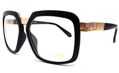 Black & Gold Gazelle Square Sunglasses Clear - Glasses Dmc Run Frames