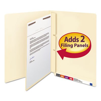 Manila Self-Adhesive End/Top Tab Folder Dividers, 2-Sections, Letter, 100/Box