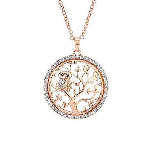 (Tree of life necklace rose gold for women men crystal jewelry with owl pendant)