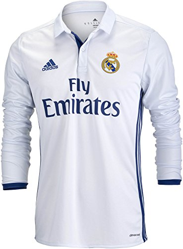adidas Men's Real Madrid Long Sleeve Home Soccer Jersey 2016/17 (X-Large) White (Real Sleeve Madrid Long Jersey)