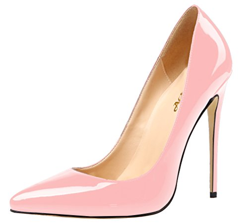 AOOAR Womens High Heel Solid Party Pumps Shoes Pink Patent 95nSl6