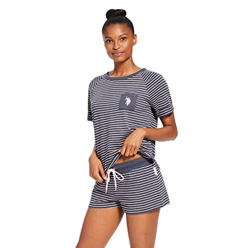 U.S. Polo Assn. Womens Short Sleeve Crewneck Striped Shirt Shorts Pajama Sleep Set Navy Heather X-Large (Women Navy Striped Pj)