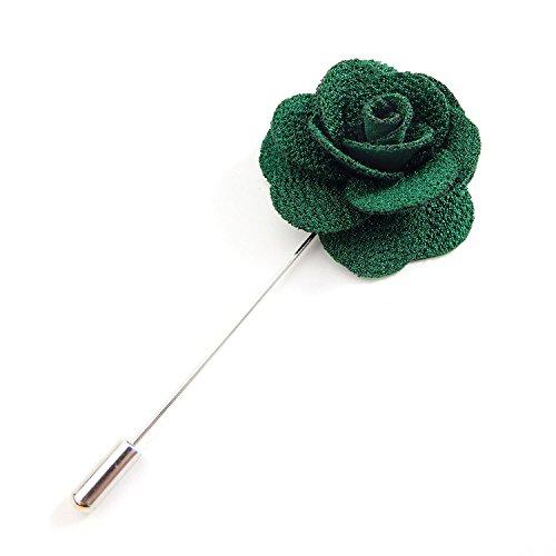 RareLove 3pcs Wedding Rose Boutonniere Lapel Pins Set For Men Flower White Red Blue (Green 5pcs) by RareLove (Image #5)