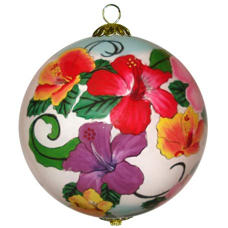 Hibiscus Christmas Ornament Hand Painted Glass Collectible with Gift Box