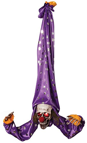 Morbid Enterprises Animated Upside Hanger Clown, Purple/Silver/White/Red, One