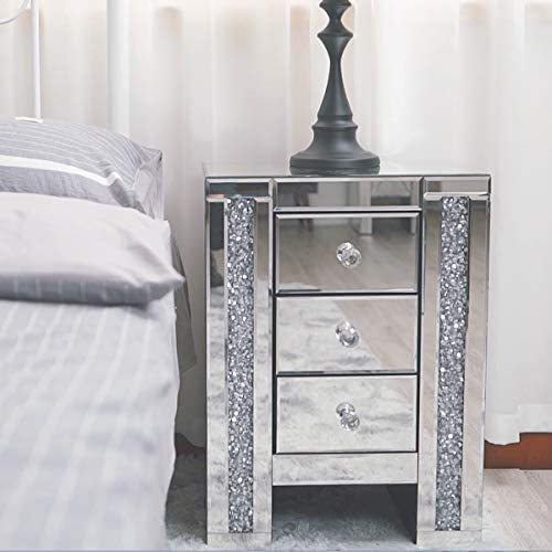 LAZYMOON Mirrored 3-Drawer Nightstand Accent Chest Cabinet Bedside Table Side Table