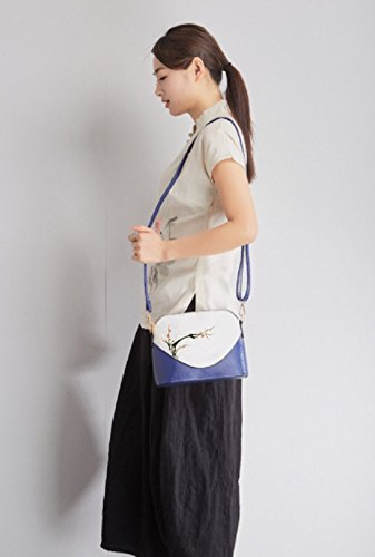 Plum Painted Asian Bag for Hand Women Style Crossbody O Shoulder Tokyo Japanese nPAxqwCg1F