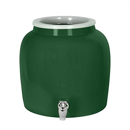 Porcelain Water Dispenser Crock - 2.5 Gallons - Comes with Crock Ring Protector and Chrome Painted Spigot Faucet - For Use With Water, Kombucha, Punch and More - ()