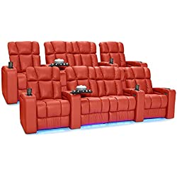 Palliser Collingwood Leather Home Theater Seating Power Recline with Adjustable Powered Headrests, Two Rows of 4 with Middle Loveseat, Red