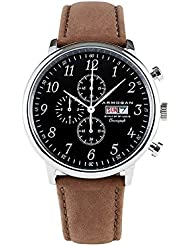 Armogan Spirit of St. Louis - Silver Black - Mens Chronograph Watch with Suede Leather Strap