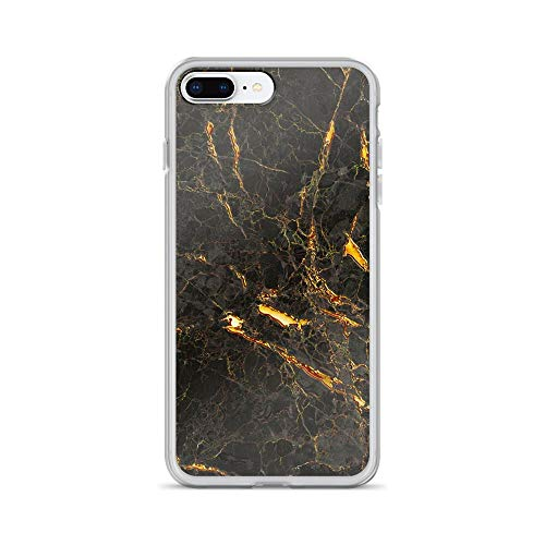 iPhone 7 Plus/8 Plus Pure Clear Case Cases Cover Decorative Black Marble with Golden Effect TPU Сlear Case Solid Durable ()