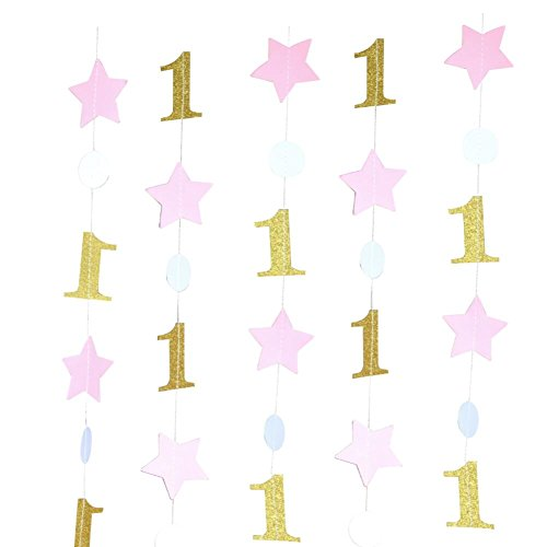 Mybbshower Pink Gold One and Star Garland (20 Feet Long) for Girls First Birthday Party Decoration Backdrop Photo Prop
