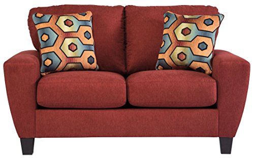 Ashley Furniture Signature Design - Sagen Loveseat Sofa - Contemporary Style Couch - Sienna Red - Contemporary Style Loveseat